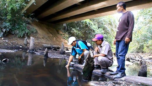 Dugaan Limbah, Hasil Pengamatan BLH Rohul, Air di Sungai Sitalas Berubah Warna