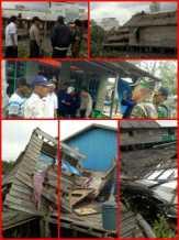 Kapolsek dan Camat Mandah, Inhil Tinjau Musibah Angin Puting Beliung di Belaras