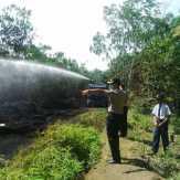 Polisi, TNI dan Damkar Berjibaku Padamkan Kebakaran Kebun Karet di Telukkuantan